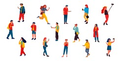 People talking on phone. Flat characters texting listening and talking with smartphones. Vector illustrations happy people talking by telephone on white background