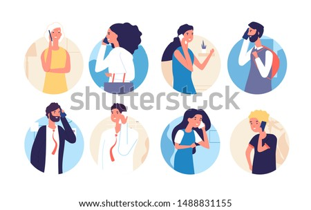 People talking phone. Person, family calling by telephone. Communication and conversation with smartphone vector cartoon characters