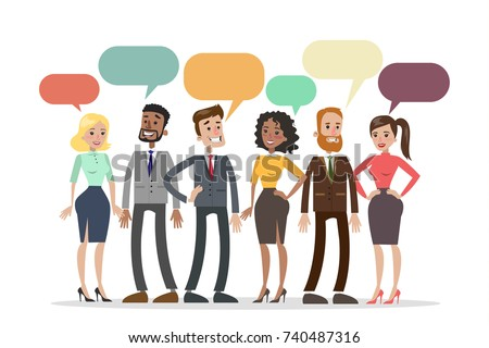 People talking together with colorful speech bubbles.