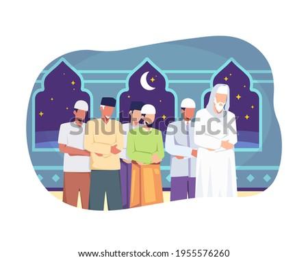 People tarawih prayer in congregation. Muslim people perform taraweeh prayer night during ramadan. Prayers in congregation at the mosque, Happy fasting, Ramadan kareem. Vector illustration flat style