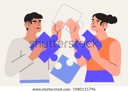 People team arrange puzzle vector illustration. Characters connecting puzzle elements or jigsaw pieces. Success collaboration, teamwork  coworking and business partnership concept. Business metaphor.