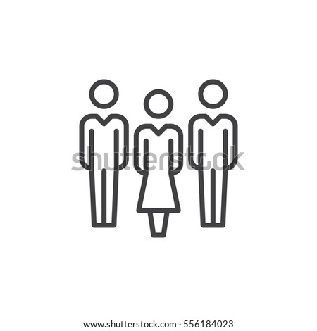 People, team line icon, outline vector sign, linear pictogram isolated on white. Symbol, logo illustration