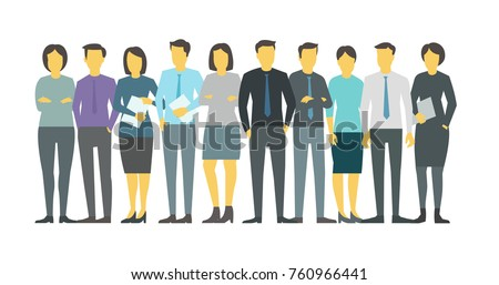 Shutterstock People team student in line group business persona. Stock vector illustration