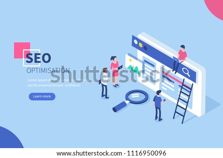 People team work together on seo. Can use for web banner, infographics, hero images.  Flat isometric vector illustration isolated on white background.