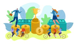 People teamwork competition concept. Successful people with trophy for winner vector illustration. Business award winning achievement for, businessman woman workers. Team rides bicycle