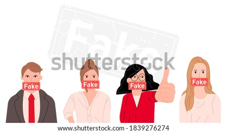 People telling lies background vector illustration cartoon flat design modern style  ストックフォト ©