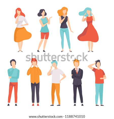 People thinking or making decision set, young man and woman thinking of something vector Illustration on a white background