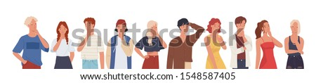 People thinking or making decision set, young man and woman thinking of something. Vector illustration in a flat