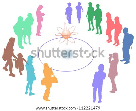 People to surround silhouette - stock vector