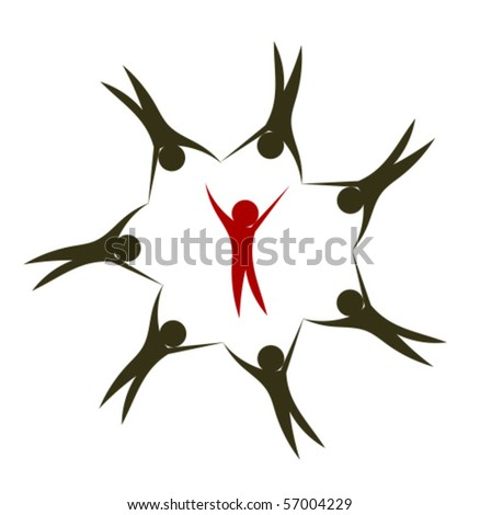 People together holding hands in circle. Leader inside. Creative logo design