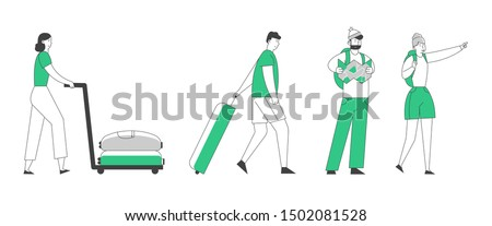 People Tourists Traveling Set. Young Couple Hiking with Backpacks. Man and Woman with Luggage Hurry on Plane or Registration. Summer Vacation Holidays Hobby. Cartoon Flat Vector Illustration, Line Art
