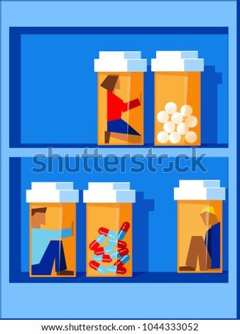 people trapped inside pill bottles on a bottle shelf, prescription drug abuse concept