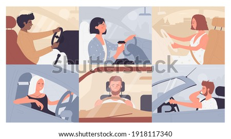 People travel, drive auto on vacation car road trip vector illustration set. Cartoon happy young man woman driver characters sitting in automobile, driving vehicle in roadtrip background collection