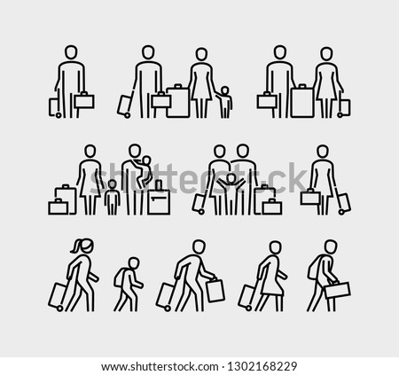 People travel icons. Family with children and suitcase luggage ready for traveling