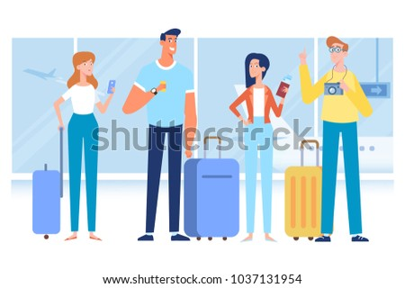 People traveling design. Friends travel together. Smiling woman holding passport ready for vacation travel at the airport. Flat Vector illustration. Character design.