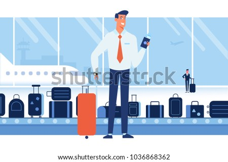 People traveling design. Smiling business man holding passport ready for vacation travel at the airport. Flat Vector illustration. Character design.