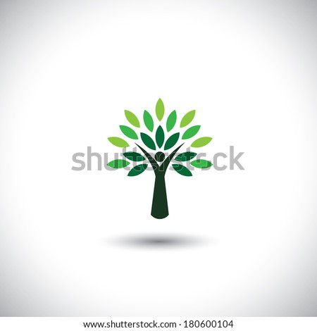 people tree icon with green