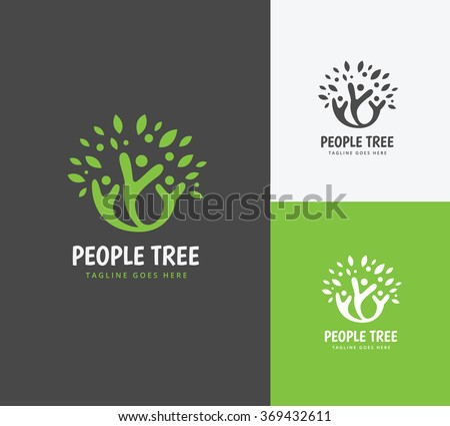 People Tree Logo,People logo,family logo,kids logo,Vector Logo Template
