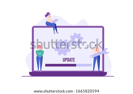 People updating operation system with progress bar. Software upgrade and installation program. Concept of system update, integration, software installation. Vector illustration for UI, mobile app