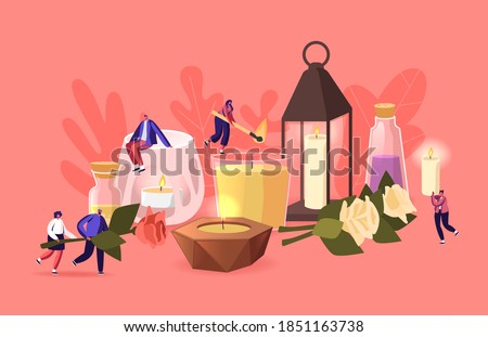 People Use Aroma Candles at Home Concept. Tiny Male and Female Characters with Various Huge Candles in Glass and Ceramics Candlesticks, Herbs, Flowers and Oils in jars. Cartoon Vector Illustration Photo stock ©