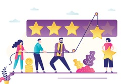 People use rope and raise stars. Review banner concept, testimonials. Teamwork, people vote or rate. Clients feedback. Business quality, five stars rating. Trendy flat vector illustration
