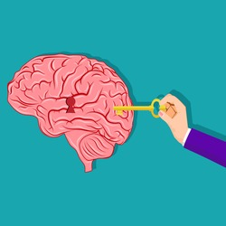 People use the key to unlock their brains. The idea of solving the secrets or riddles of the brain