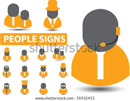 people, users, employees icons, signs, vector illustrations - stock vector