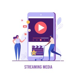 People using and watching streaming service with mobile phone. Streaming cinema concept. Concept of video marketing, online cinema. Vector illustration for UI, web banner, mobile app
