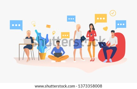 People using digital devices in modern office. Workplace, worker, technology concept. Vector illustration can be used for topics like business, communication, coworking space #1373358008