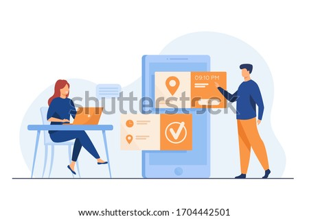 People using online appointment and booking app. Mean and woman planning meeting, setting date in mobile interface. Vector illustration for business, internet technology concept Photo stock ©