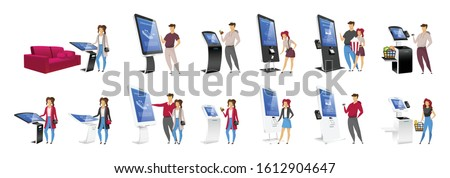 People using self order kiosks flat color vector faceless characters set. Interactive machine users isolated cartoon illustrations on white background. Electronic eqipment and touchscreen counters