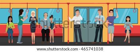 People using smartphone phones in subway train public transport