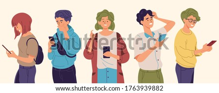 People using smartphones with different poses and expressions. Man and women holding a phone to texting, read online news, chatting, play games, social media, usability. Flat style vector illustration Stock photo ©
