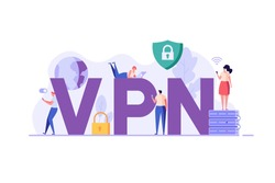 People using VPN for computer, smartphone with VPN sign. Users protecting personal data with VPN service. Concept of virtual private network, сyber security, data protection. Vector illustration