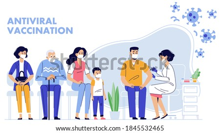 People vaccination concept for immunity health. Covid-19. Doctor makes an injection of flu vaccine to man in hospital.  Patients are waiting in line. Healthcare, coronavirus, prevention and immunize.