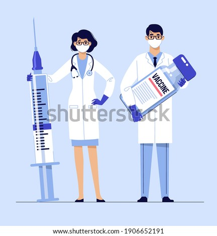 People vaccination concept for immunity health. Covid-19. Young doctors man and woman in masks with syringe and vaccine isolated on blue background. Healthcare, coronavirus, prevention and immunize.