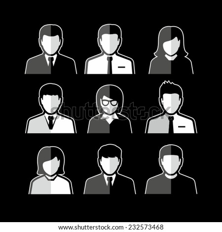 People Vector Avatar Flat Icons on black background