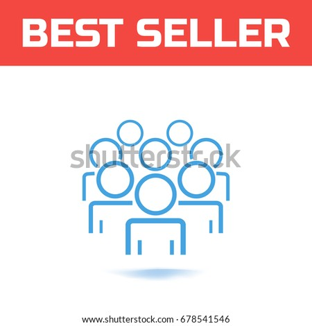People vector icon. People Icon in trendy line style isolated on white background. Persons symbol for your web site design or logo. Crowd sign Vector illustration.