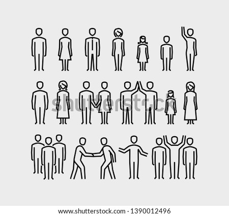People Vector  Icons Set in Thin Line Style