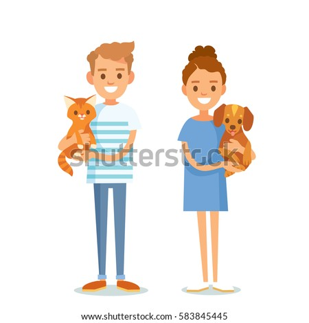 People vector with pets