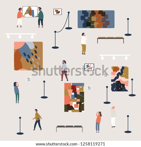 People viewing shape modern abstract arts exhibits in museum,creative artworks or exhibit paintings on wall in art gallery exhibition,flat design style,vector pattern illustration.