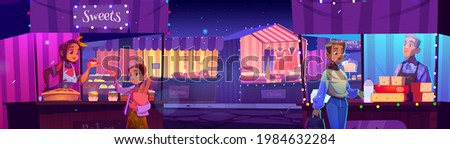 People visit night fair with outdoor market stalls, booths and kiosks with striped awning. Characters buying clothes or food in wooden illuminated vendor street counters, cartoon vector illustration