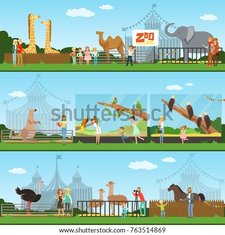 People visiting an zoo set of vector Illustrations, parents with children watching wild animals