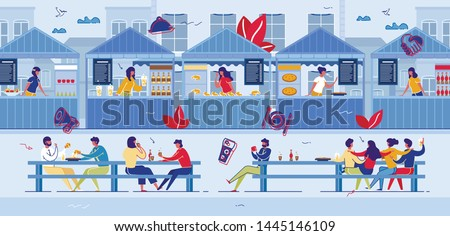 People Visiting Food Court for Buying Food. Pizza, Bakery, Drinks Kiosks Offer Different Meals, Family Spare Time, Weekend, Hospitality. Characters in Fast Food Cafe, Cartoon Flat Vector Illustration