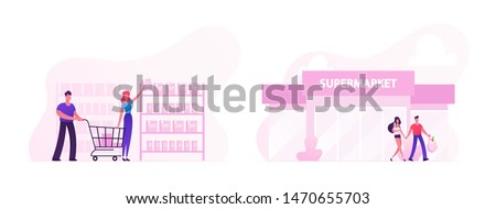 People Visiting Supermarket Set. Happy Couple Man and Woman Choosing Products in Store, Characters Leaving Shop with Full Bags. Shopping, Family Every Day Routine. Cartoon Flat Vector Illustration