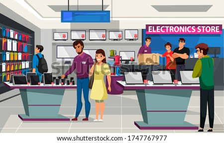 People visitor and shop assistant at consumer electronics store. Man and woman choosing mobile phone, laptop, tv and audio equipment, buying home appliance product. Shopping mall interior