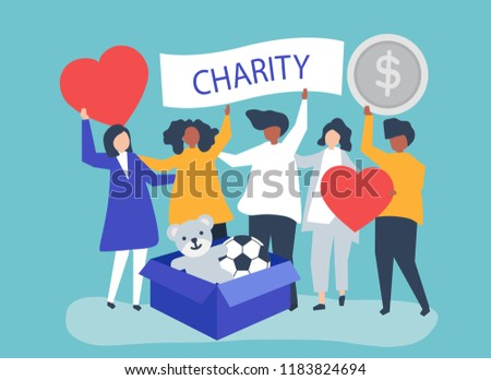 People volunteering and donating money and items  to a charitable cause