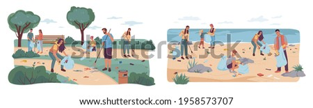 People volunteers cleaning up city park and beach from wastes, flat cartoon design. Vector team of adults kids pickup rubbish into bags. Environment protection. Man woman collecting garbage together Stock photo ©