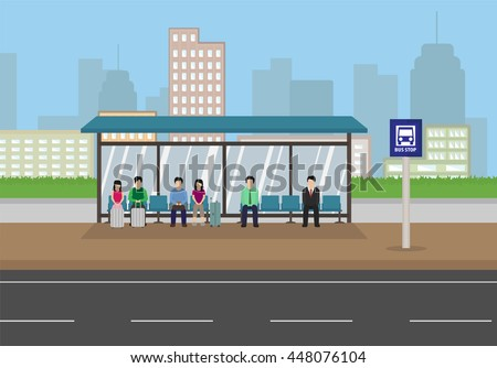 people waiting at a bus stop in the city , cartoon style vector