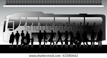 People waiting for bus (vector)
